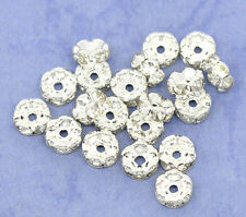 100PCs HOT SALE Silver Plated Rondelle SPACER BEADS 6mm