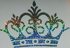 PRINCESS CROWN - holographic SILVER - SPECIAL EFFECT ** CAR  DECAL / STICKERS
