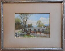 Cattle watering by a bridge, original watercolour, monogrammed AJS, circa 1910