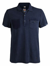 Men's New HUGO BOSS Orange Label Polo Button Shirt Navy Blue Distressed NWT M