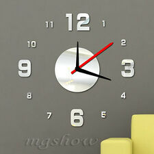 Digital Modern DIY 3D Mirror Wall Clock Home Decor Crystal Living Room sticker