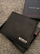 TOMMY HILFIGER Black Leather Wallet MARKED Damage Box Men's AUTHENTIC NEW 1
