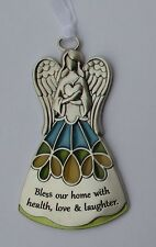 s Bless home love health laughter Guardian Angel stained glass look ORNAMENT