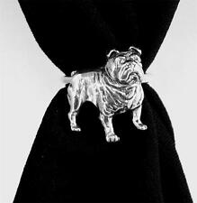 British Bulldog Scarf Ring, English Pewter, Handmade in Great Britain, dog (ab)
