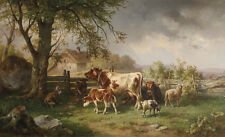 Great oil painting cows with Calves sheep goat in landscape under the trees