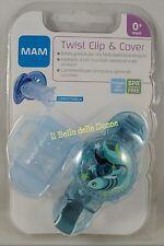MAM TWIST Clip & COVER Salvasucchietto porta ciuccio tettarella azzurro pesce