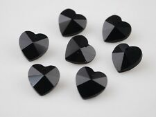10pcs 10mm Heart Faceted Crystal Glass Pendants Charm Loose Spacer Beads Black