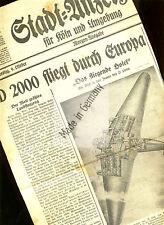 """dekoratives Titelblattfragment """" D 2000 fliegt durch Europa """" 1930 Junkers G 38"""
