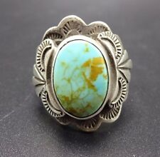 Vintage SOUTHWESTERN Sterling Silver & TURQUOISE Carol Felley RING, size 9.5