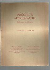 Catalogue Vente aux enchères Hôtel Drouot 1963 Précieux autographes REF E24
