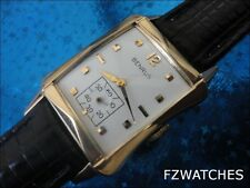 Exquisite 1960s Vintage Mans Benrus Hand Wind Stunning White Dial Just Serviced
