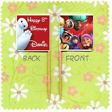 20 PERSONALISED DISNEY BIG HERO 6 CUP CAKE FLAG Party Topper Decoration Birthday