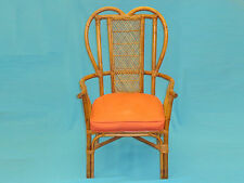 50's ATTRIB. RATTAN & WICKER HEART SHAPED BACK SHOE HORSE ARMCHAIR