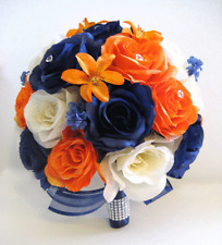 17 piece Wedding Bouquet Silk Flower Bridal NAVY BLUE CREAM ORANGE LILY package