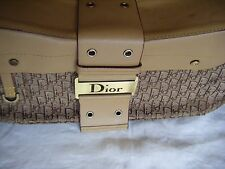Vintage CHRISTIAN DIOR Canvas and Brown Leather Purse Handbag