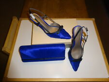 JACQUES VERT SHOES AND  MATCHING CLUTCH BAG -BLUE /BLACK SIZE 4 -NEW