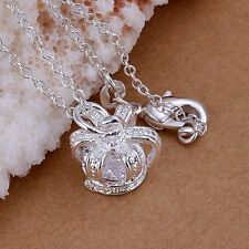 UK Brand New Beautiful Silver Plated Crown Pendant Necklace Princess Queen (053)