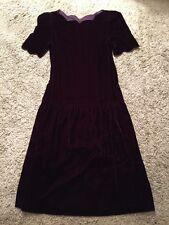 Patty O'Neil Velvet Burgundy Short Sleeve Dress, Size 8, Made In USA