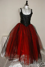 Womens NEW Long Black Red tutu skirt 8 LINED goth fairy gypsy wedding lagenlook