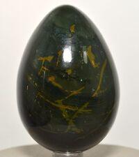 """2.9"""" Green Yellow Bloodstone Egg Polished Heliotrope Jasper Agate Mineral India"""