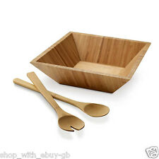 Bamboo Salad Servers and Bowl - Dining Table Kitchen Picnic BBQ Spoons