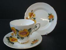 ROYAL SUTHERLAND FINE BONE CHINA YELLOW ROSE AND GOLD TRIO