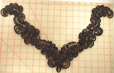 "12 black neckline appliques with squiggles all over 18"" x 11"""