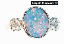 harlequin black opal diamond 14K gold ring pink engagement Australian birthstone