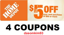 ( 4 C0UP0NS ) --- Home Depot --- ( $5 OFF --- $50 In-Store Purchase )