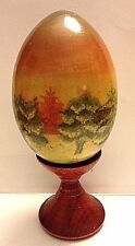 RUSSIAN EASTER EGG LANDSCAPE HAND PAINTED WOODEN  LACQUER FINISH W/STAND