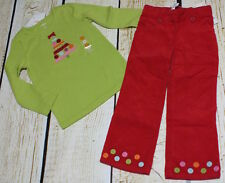 NWT 3T Gymboree Cozy Cutie green ribbon Christmas tree top & red cord pants set