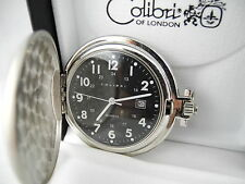 COLIBRI BLACK FACE SILVERTONE POCKETWATCH  W/DATE  New  as-is