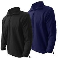Mens Fleece Jacket Henbury Microfleece 1/4 Zip Cargo New Zip Sleeve Pocket