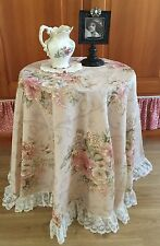Shabby Cottage Chic Tablecloth w/ Lace Border~Floral~Soft Tones~BEAUTIFUL !
