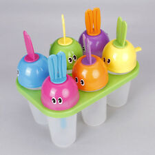 Rabbit Ice Popsicle Maker Ice Cream Mold Set of 6 Freeze Pops w/ Sip Straw