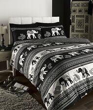 EMPIRE INDIAN ELEPHANT ANIMAL PRINT KING BED DUVET QUILT COVER BEDDING SET BLACK