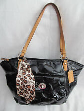 Coach Black Signature Embossed Patent Leather Cheetah Shoulder Bag Tote Purse