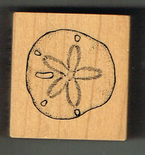 SAND DOLLAR WOOD MOUNTED RUBBER STAMP - RARE PSX STAMP - APPROX 4 x 4 cm