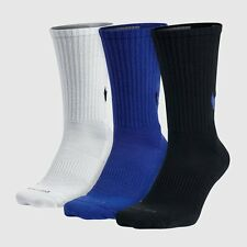 $41 NIKE Men's 3 PAIR PACK DRI-FIT Cotton CREW SOCKS Blue Black White SHOE 8-12