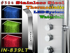 839LT STAINLESS STEEL INOX LED WATERFALL THERMOSTATIC Shower Panel column tower