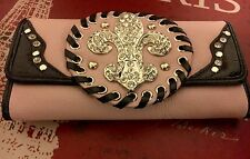 $370 Dolce Sinfonia Wallet PINK & SWAROVSKI PU Leather STONES Beverly Hills