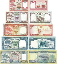 NEPAL - Lotto 5 banconote 5/10/20/50/100 Rupees Everest FDS - UNC