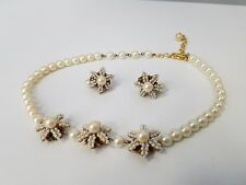 Vintage M&M Designs Stanley Hagler Pearl Necklace and Clip On Earrings Set