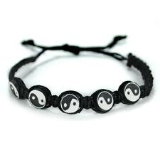 YIN YANG BRACELET Adjustable Surfer Fimo Bead Tai Chi Hemp Macrame Black White