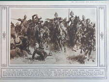 1914 GERMAN CAVALRY CHARGE; TSING TAU MACHINE GUN WWI WW1 (1 SHEET, BOTH SIDES)