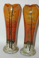 Pair of Legras hand Enameled Art Glas Vases with Winter Forest Scene C. 1910