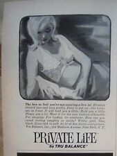 1963 Vintage Private Life Women's Bra by Tru Balance Blonde Reading Book Ad