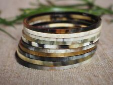 Genuine Horn Stack of Bracelets Set 10 Thin Bangles Natural Horn Material H.BC42