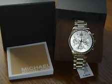 Michael Kors Womens Watch Silver Tone~Chronograph~Brinkle~ Crystals~40mm MK6186