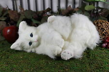 Snowy White Cat Playing Post Adorable Furry Animal Taxidermy Figurine Kitty